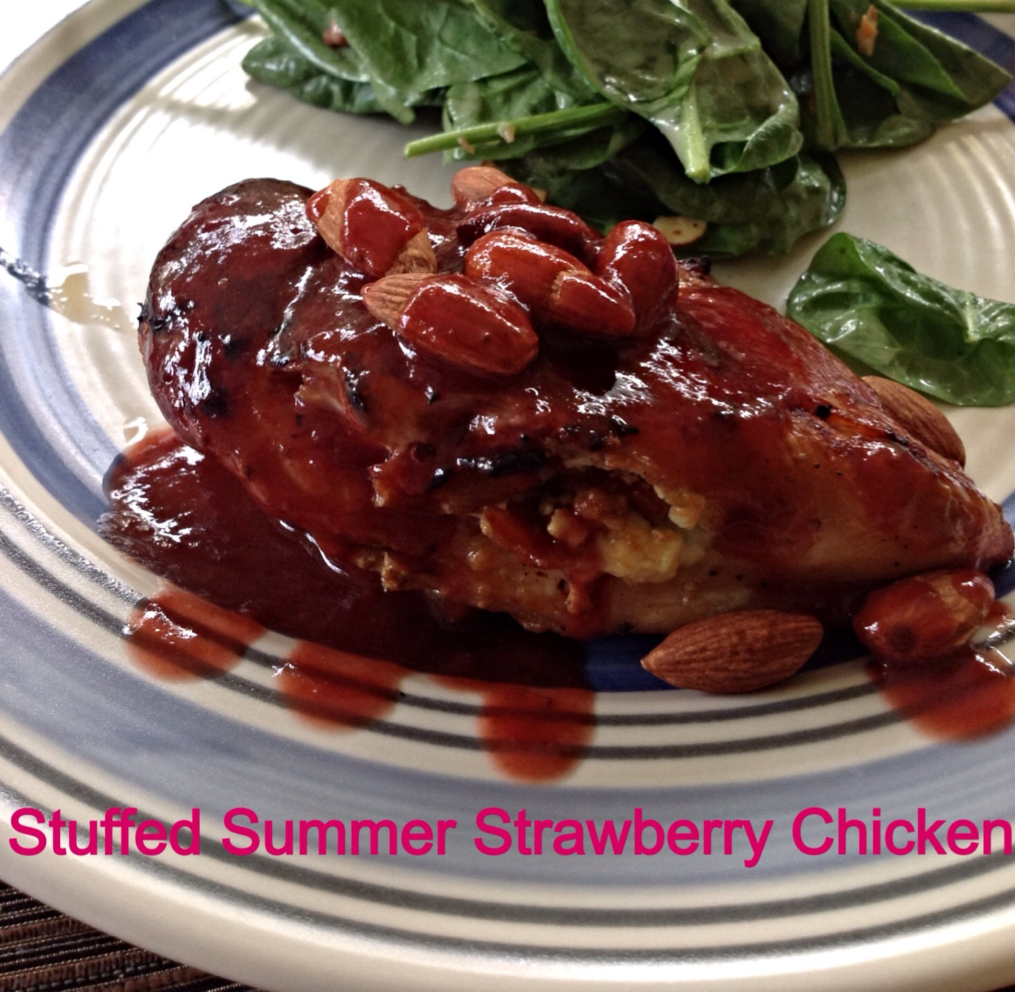 Gorgonzola and bacon stuffed grilled chicken with strawberry sauce